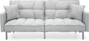 Convertible Linen Splitback Futon Sofa